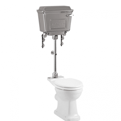Rimless close coupled pan with chrome aluminium cistern and medium level flush pip kit 5