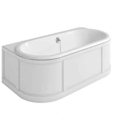 London back to wall bath with curved surround 10