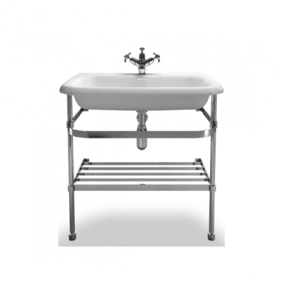 large roll top basin with saintless steel stand 2