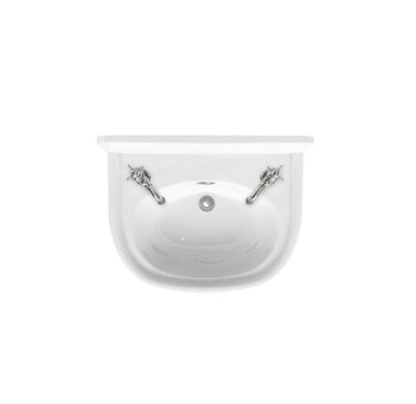 Arcade 500mm cloakroom basin with nickel overflow 2