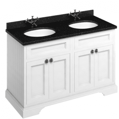 Freestanding 130 unit with black granite worktop, doors and two integrated white basins 1