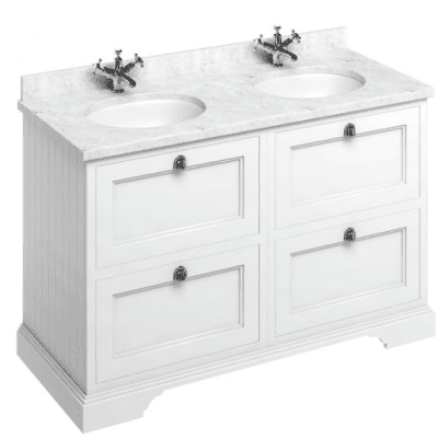 Freestanding 130 unit with carrara white worktop, drawers and 2 integrated white basins 2