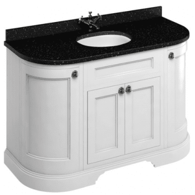 Freestanding 134 unit with black granite worktop, doors and integrated white basins 12