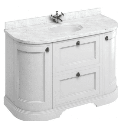 Freestanding curved unit with carrara white worktop, drawers and integrated white basin 11