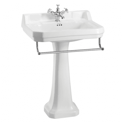 Edwardian 61 cm basin, towel rail and standard pedestal 11