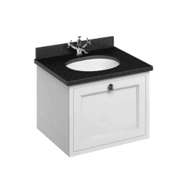 Wall hung 65 unit with black granite worktop, single drawer and integrated white basin 7