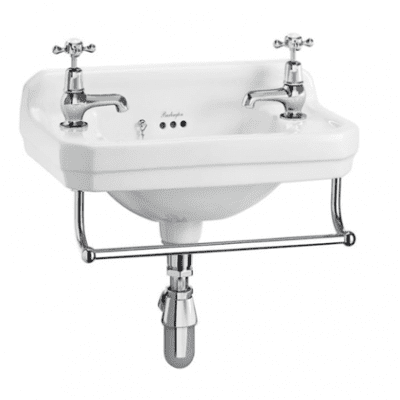 Edwardian 51cm cloakroom basin with towel rail 4