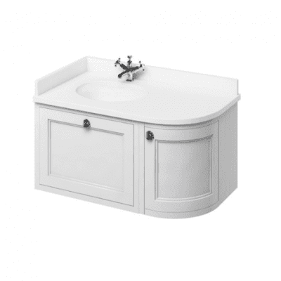 Wall hung 100 LH or RH curved corner unit with white worktop and integrated white basin 1