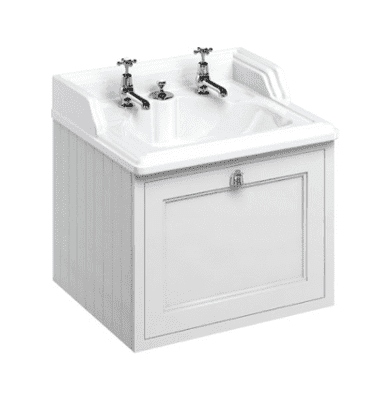 Wall hung 65 unit with single drawer and classic invisible overflow basin 9