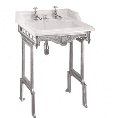 Classic 65cm basin with invisible overflow and brushed aluminium basin stand 7