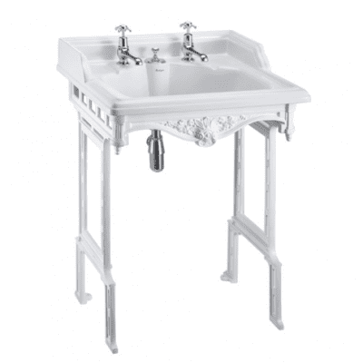 Classic 65cm basin with invisible overflow and white aluminium basin stand 7