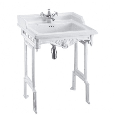 Classic 65cm basin with white aluminium basin stand 3