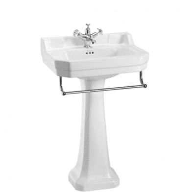 Edwardian 56cm basin, towel rail and regal pedestal 13