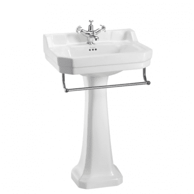 Edwardian 56cm basin, towel rail and standard pedestal 11
