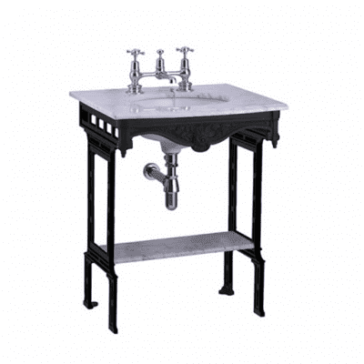 Carrara marble top and basin with black aluminium washstand 3