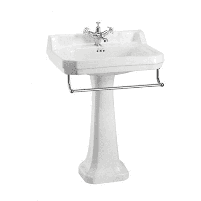 Edwardian 61cm basin, towel rail and regal pedestal 11