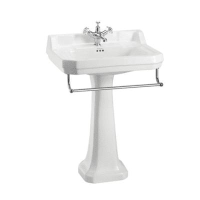 Edwardian 61cm basin, towel rail and regal pedestal 5
