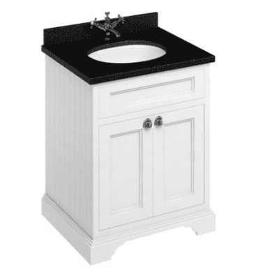Freestanding 65 unit with black granite work top, doors and integrated white basin 8