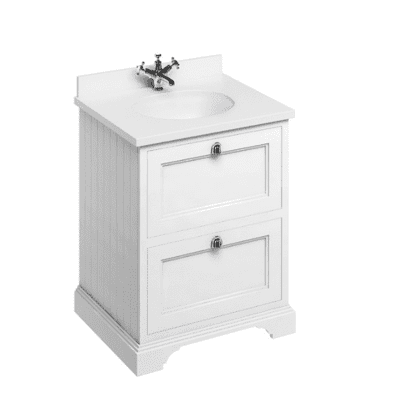 Freestanding 65 unit with white worktop, drawers and integrated white basin 1