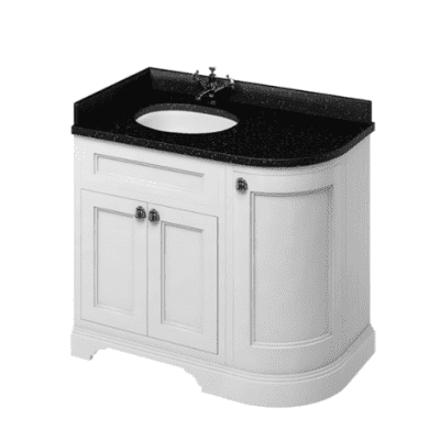 Freestanding LH curved corner unit with black granite worktop and integrated white basin 2