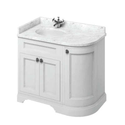 Freestanding LH curved corner unit with carrara white worktop and integrated white basin 10