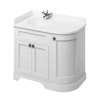 Freestanding LH curved corner unit with integrated white basin 13