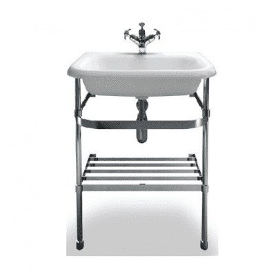 medium roll top basin with stainless steel stand 11