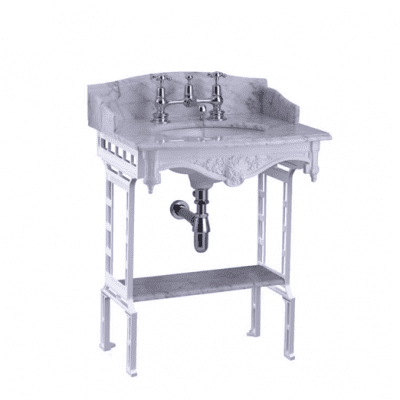 Carrara marble top and basin with white aluminium washstand 13
