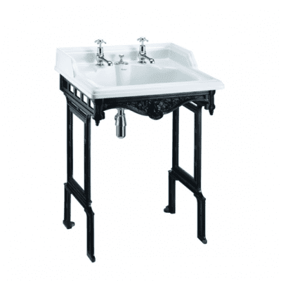 Classic 65 cm basin with invisible overflow and black aluminium basin stand 12