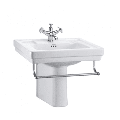 Contemporary basin, towel rail and semi pedestal 4