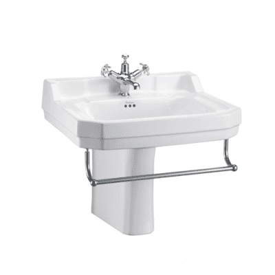Edwardian 61cm basin, towel rail and semi pedestal 12