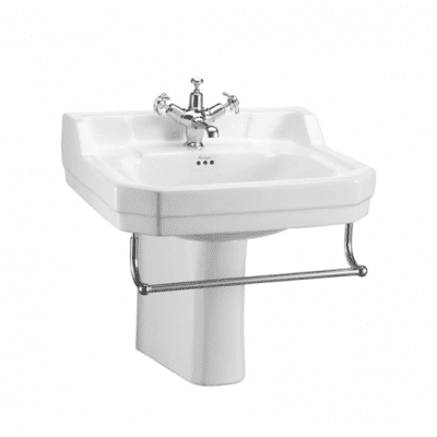 Edwardian 56cm basin, towel rail and semi pedestal 6