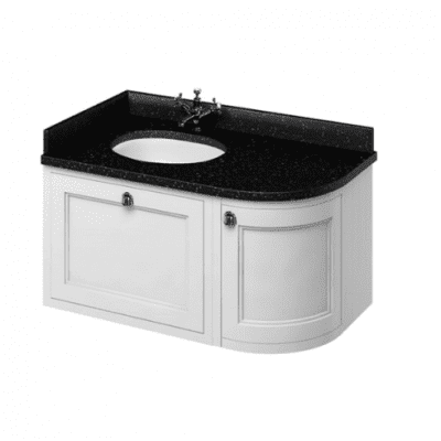 Wall hung 100 LH or RH curved corner unit with black granite worktop and integrated white basin 7