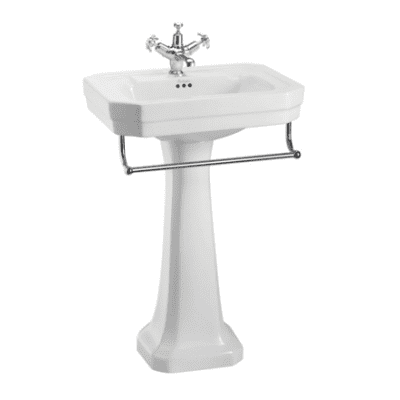 Victorian 56cm basin, towel rail and regal pedestal 2