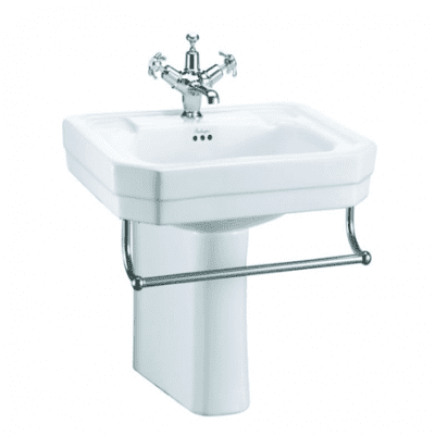 Victorian 56cm basin, towel rail and semi pedestal 7