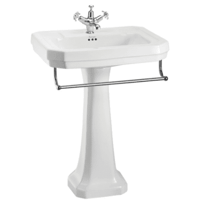 Victorian 61 cm basin with towel rail and regal pedestal 1