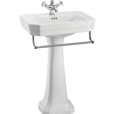 Victorian 56 basin, towel rail and standard pedestal 13