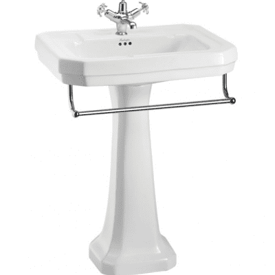 Victorian 61cm basin, towel rail and standard pedestal 3
