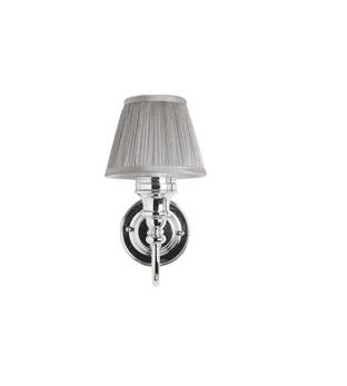 LED Bathroom Ornate Wall Light with Chrome Base & Silver Chiffon Shade 11