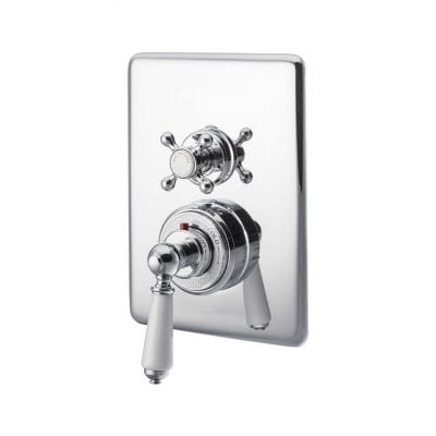 Concealed Dual Control Thermostatic Valve - 2 Outlets, Chrome 1