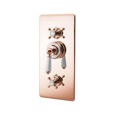 Concealed Thermostatic Valve With Integral Flow Valves Copper 9