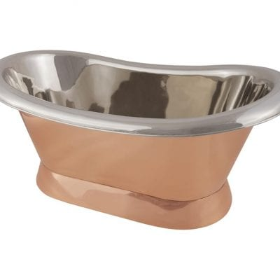 Copper Bateau Basin With Roll Top & Plinth 6