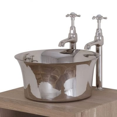 Copper Tub Basin With Nickel Interior & Exterior 9