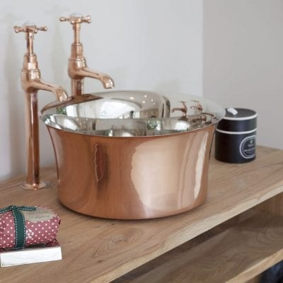 Copper Tub Basin With Nickel Interior 13