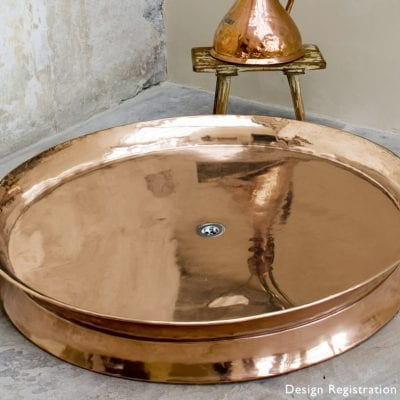 Rotunda Large Copper Shower Tray 7
