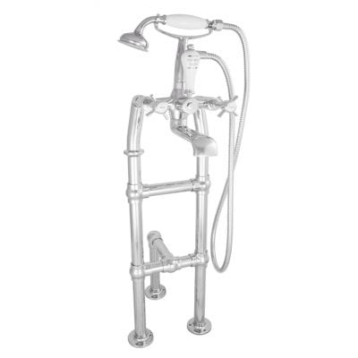 Freestanding Bath Mixer Taps With Small Tap Stand & Support Chrome 1