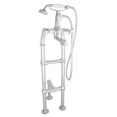 Freestanding Bath Mixer Taps With Large Tap Stand & Support Chrome 6