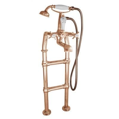 Freestanding Bath Mixer Taps With Small Tap Stand Copper 5