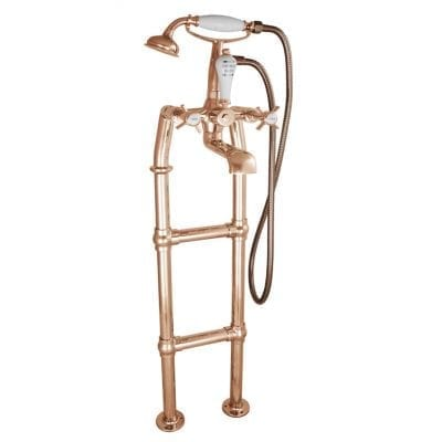 Freestanding Bath Mixer Taps With Large Tap Stand Copper 4