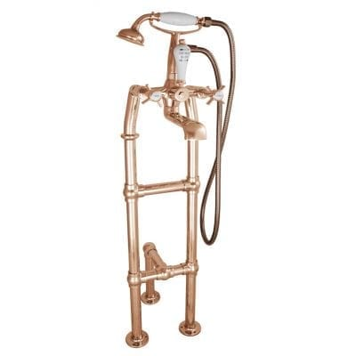 Freestanding Bath Mixer Taps With Large Tap Stand & Support Copper 1